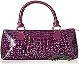 Primeware Clutch Insulated Single Bottle Wine Tote, Purple Croc