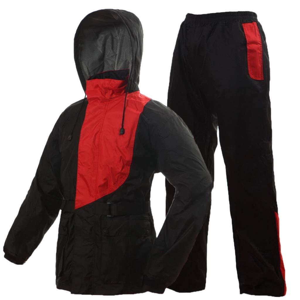 rouge petit DJSMYY Léger imperméable imperméable de Veste de Veste des Hommes approprié au Pantalon imperméable extérieur imperméable de Capuchon de Pluie de Capuchon de Pluie (Couleur   rose, Taille   3XL)
