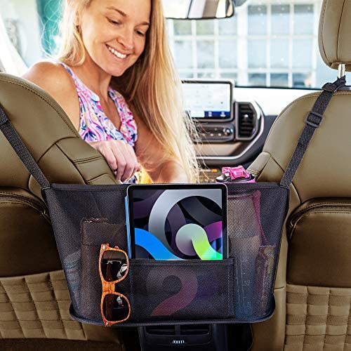 Car Net Pocket Handbag Holder Between Seats – Mesh Purse Holder for Car – Car Seat Storage and Handbag Holder for Car Front Seat – Universal Car Organizer with Tablet Holder
