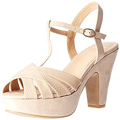 Novo Women's High Heel Strappy Sandals, Nix, Nude, 38 EU