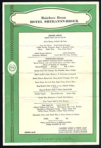 Hotel Sheraton-Brock Rainbow Room Dinner Menu 8/18 1959 Niagara Falls ON (Sheraton Dinner)