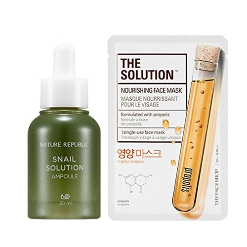 Nature Republic SNAIL SOLUTION AMPOULE with 80% Snail Secretion Filtrate Extract + 1pc The Solution Mask (Snail Extract)