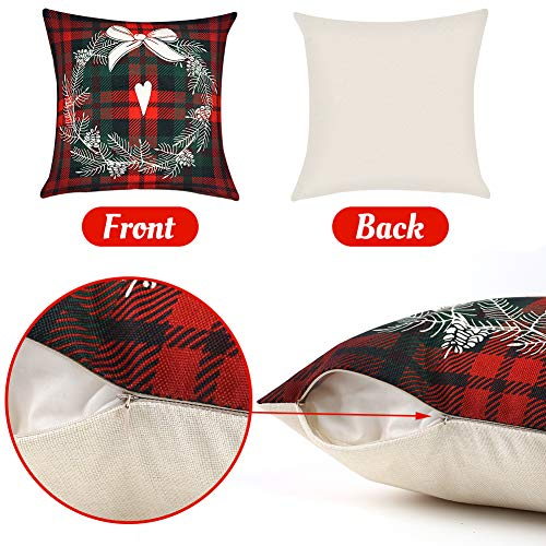 VGOODALL Christmas Pillow Covers, 4 PCS 18 Christmas Sofa Throw Pillow Case Random Style