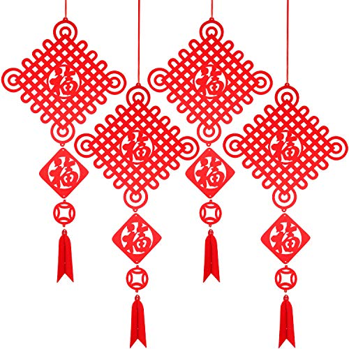 Blulu 4 Packs Chinese New Year Decorations Red Fu Chinese Spring Festival Home Decor Good Luck Hanging Pendant for Home Restaurant Decoration, 12.2 x 24.4 Inches ()