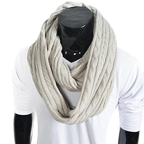 Stylish-Men-Cable-Soft-Knit-Winter-Infinity-Scarf