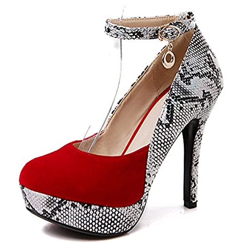9088104a1cc IDIFU Women s Sexy Snake Print Spliced Platform High Stiletto Heels Pumps  Shoes With Ankle Strap 80