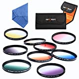 Professional 77mm 9pcs Graduated Color Filter Kit Orange Blue Grey Red Purple Green Brown Yellow Pink + Cleaning Cloth + Shockproof Filter Bag