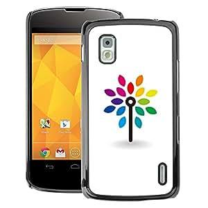 A-type Arte & diseño plástico duro Fundas Cover Cubre Hard Case Cover para LG Nexus 4 E960 (Clean White Minimalist Rainbow)