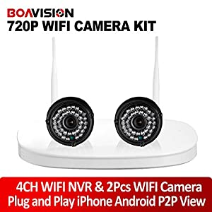 Wireless Camera NVR Kit With 2Pcs 720P WIFI IP Camera Outdoor NightVision P2P View Plug And Play Security Surveillance System