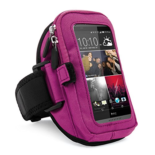 VanGoddy Zippered Sport Gym Running Armband w/Removable Strap & Card/Key Holder for HTC 10/One S9/Desire 530/628/630/825/830 Fit 4.7 to 5.5 inch Ios Android Windows smartphone (Purple) by SumacLife