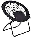 K&A Company Bungee Chair Folding Round Camping Outdoor Patio Garden Steel Frame Hiking New Portable Seat Furniture Sporting Black