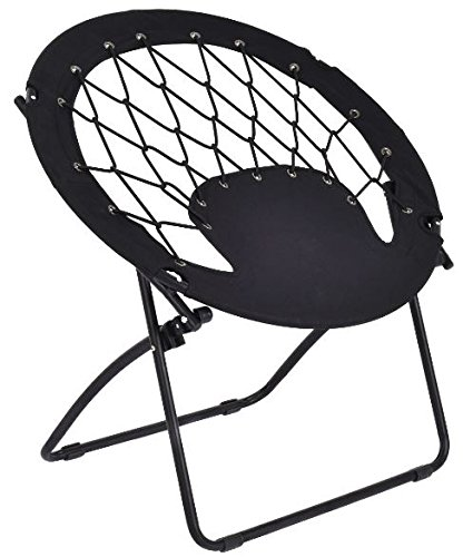 K&A Company Bungee Chair Folding Round Camping Outdoor Patio Garden Steel Frame Hiking New Portable Seat Furniture Sporting Black by K&A Company