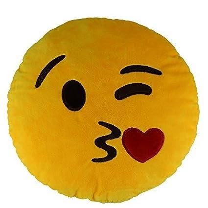 "13,8 ""Sweet Kiss Emoji Emoticono Cojín redondo almohada de peluche de felpa"