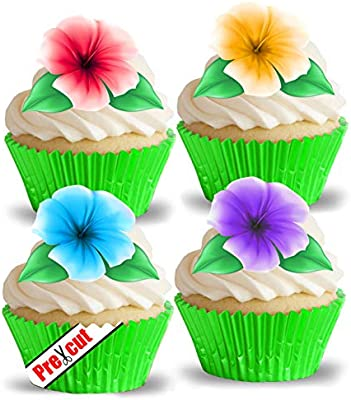 Amazing Pre Cut Hawaiian Flowers With Leaves Ii Edible Rice Wafer Paper Funny Birthday Cards Online Alyptdamsfinfo