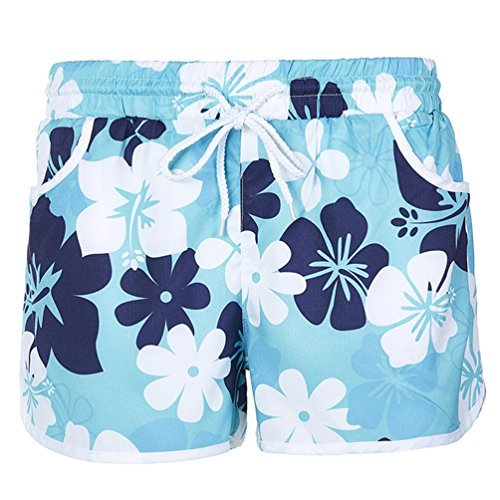 Womens Floral Printed Swim Shorts Trunks Boyshort Bottoms With Pockets M Green