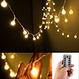 [Remote & Timer] 5 Meter 50 LED Outdoor Globe String Lights 8 Modes Battery Operated Frosted White Ball Fairy Light (Warm White)