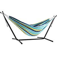 Vivere Double Cotton Hammock with Space Saving Steel Stand(450 lb Capacity - Premium Carry Bag Included) (Cayo Reef)