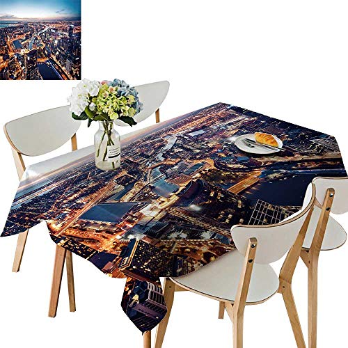 UHOO2018 Polyester Tablecloth a Melbourne at Night Victoria Australia Square/Rectangle Spillproof Tablecloth,50 x106inch