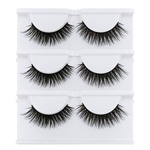 BEPHOLAN False Lashes 3 Pairs Soft Fake Eyelashes 3D Mink Eyelashes Natural Look Reusable Handmade Fake Eyelashes for Makeup(xmz024)