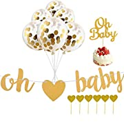 Lillypet Baby Shower Banner, Oh Baby Balloons Oh Baby cake topper for Neutral Baby Shower Party Decorations, Gender Reveal Party Supplies, Unisex Pregnancy Annou