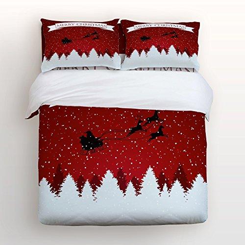Lovingin 4Pieces Home Comforter Bedding Sets Duvet Cover Sets Bedspread for Adult Kids,Flat Sheet,Shams Set,Merry Christmas Letters Elk Snowflake Vintage Christmas Xmas Gift ()