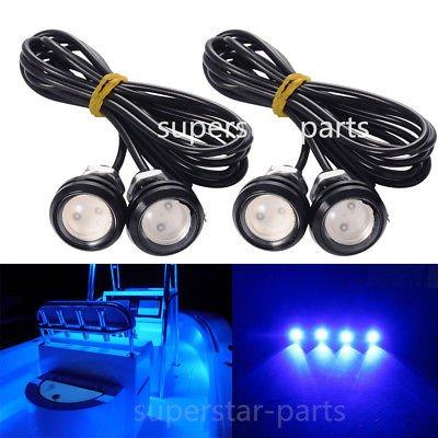 FidgetGear 4x Blue LED Boat Light Waterproof Outrigger Spreader Transom Under Water Night (Outrigger Spreader)