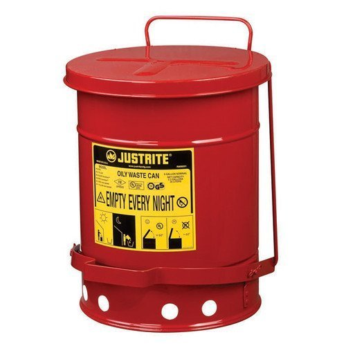 Justrite Laboratory Safety Cans - Justrite 09100 Red Galvanized Steel Oily Waste Safety Can with Foot Lever - 6 Gallon Capacity