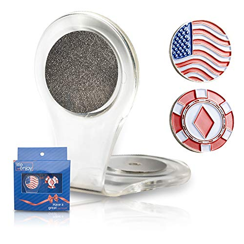 Golf Ball Marker Clip - American Flag marker - Attach To Your Pocket Edge, Belt, Clothes - Strong, Easy To Use Magnetic Mechanism - Transparent Color To Match With Anything- Great Gift!