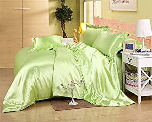 MOONLIGHT BEDDING Luxurious Ultra Soft Silky Satin (1 Comforter Cover, 2 Pillowcases & 1 Fitted Sheet) 4-Piece Duvet Cover Set with Fitted Sheet Twin XL, Sage