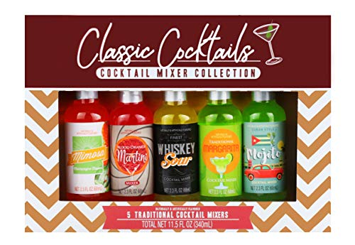 Thoughtfully Gifts, Classic Cocktails Mixer Collection, Flavors: Traditional Margarita, Whiskey Sour, Blood Orange Martini, Mojito and Mimosa, 2.3 oz Each, Set of 5 (Contains NO Alcohol)