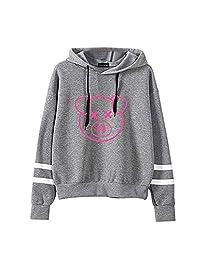 Funny Pullover Sweatshirt for Teen Girls,Women Fashion Pig Print Long Sleeve Stripe Hoodies Blouse