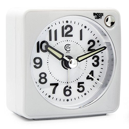 JCC Mini Travel Analog Alarm Clock, Non-Ticking-Battery Operated, Quartz Clock with 5 min Snooze- Loud Ascending Sound- Alarm Clocks with Night Light for Traveling, Backpacking (White - Round Dial)