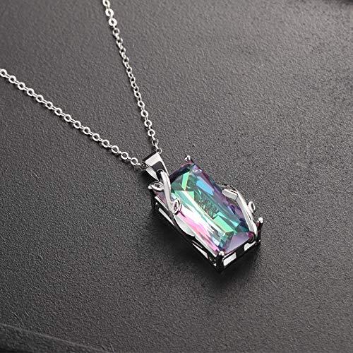 QIAOYING Topaz Leaf Rainbow Rainbow Stone Tourmaline Pendant Gemstone Platinum Necklace Pendant