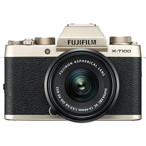 Fujifilm X-T100 Mirrorless Digital Camera w/XC15-45mmF3.5-5.6 OIS PZ Lens - Champagne Gold