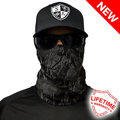 Sa Company Face Shield Micro Fiber Protect from Wind, Dirt and Bugs. Worn as Balaclava, Neck Gaiter, Head Band for Hunting, Fishing, Boating, Cycling, Paintball and Salt Lovers-Blackout Forest Camo