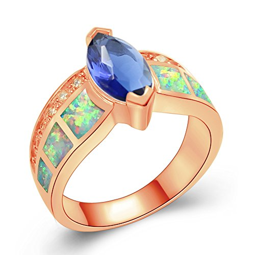 One Ring Love Marquise (Sinlifu Silver Created White Opal And Dark Blue Aquamarine Marquise Women Ladies Engagement Ring (9, white-Rose Gold))