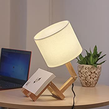 Haitral Creative Desk Lamp Cute Wooden Table Lamp With