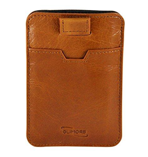 Kreditkartenetui mit RFID Schutz von GlimOrb. Leder Geldbeutel und Kreditkartenhülle, sicherer NFC Blocker, Schutzhülle für bis zu 10 Karten