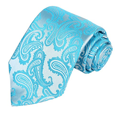 KissTies Paisley Tie Pale Glacier Ice Blue Necktie in Gift Box