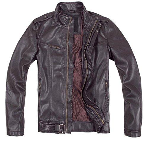 (Western Leather Men's Wax Washed Lambskin Leather Jacket Medium Dark Brown)