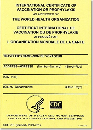 International Certificate of Vaccination Prophyaxis as Approved by the World Health Organization = Certificat International de Vaccination ou de ... de la Sante, November 2007: Packages of 25