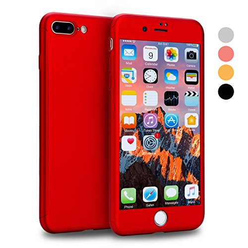 iPhone 7 Plus Case, VANSIN 360 Full Body Protection Hard Slim Case Coated Non Slip Matte Surface with Tempered Glass Screen Protector for Apple iPhone 7 Plus Only (5.5-inch) - (Red)