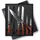 Zelancio Premium 6-Piece Hammered Japanese Steel Knife Set with High Carbon Core and 67-Layer Damascus Steel Blades, Razor Sharp Professional Chef Quality with Teak Handles, Damascus Steel, Brown