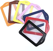 ISKYBOB Set of 14 Vertical Style Colorful Faux Leather Business ID Badge Card Holder,Not Included Neck Strap