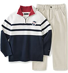 Tommy Hilfiger Little Boys\' Toddler Sweater Pants Set, Navy, 4T