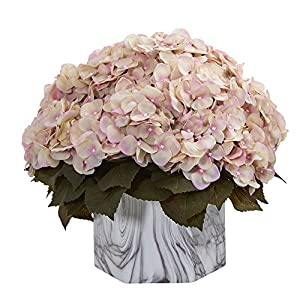 Nearly Natural 8177-CP Fall Hydrangea Artificial Marble Finished Vase Silk Plants Cream Pink 43