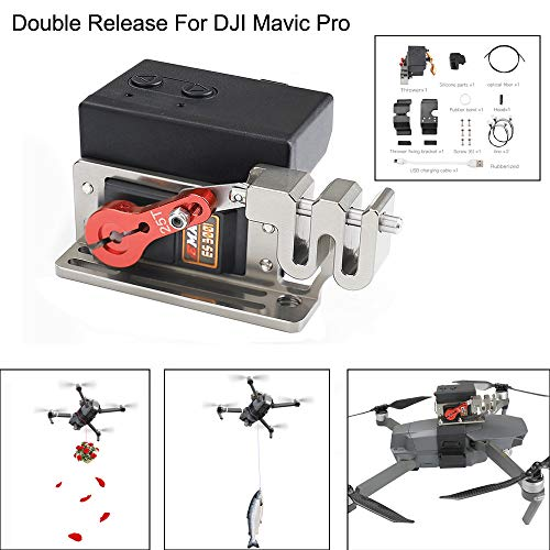 Weite Upgraded Drone Clip Payload Release and Drop Device Compatible with DJI Mavic Pro, Double Release Thrower Drone Delivery Device, AirDrop Release Fishing Bait Wedding Proposal Tool (Black)