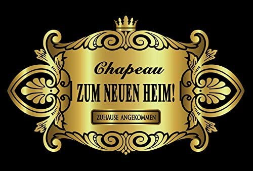 Oblique-Unique® Aufkleber Flaschenetikett Chapeau Zum Neuen Heim Etikett Gold elegant