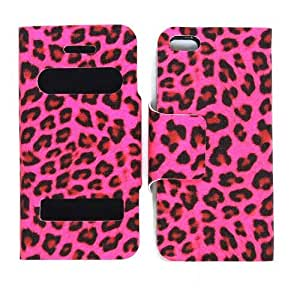 CellTx Novelty Case For Apple (iphone 5, 5S) Magnetic Wallet Case Portfolio Cover (Leopard, Hot Pink) AT&T, T-Mobile, Sprint, Verizon, Cricket, Virgin Mobile, Boost Mobile by runtopwell