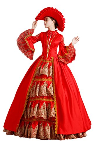 Zukzi Women's Gothic Long Sleeve Royal Lolita Costume with Free Petticoat, Customized (Colonial Gown Costume)